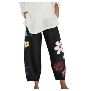 Damen Lady Casual Flowers bedrucken Hosen mit elastischer Taille und weitem Bein Größe:L,Farbe:Schwarz