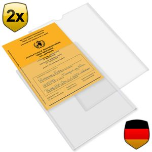 2x Impfpasshülle Impfausweishülle für Impfausweis Impfbuch (144x108mm bzw. 148x105mm, bis ca. 2008) - transparent - Impfpasshülle Klarsichthülle Schutzhülle