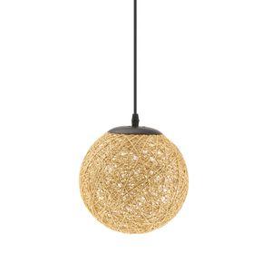 1 x Landhaus Stil E27 Lampenschirm aus Rattan für Pendelleuchte / Hängeleuchte Farbe Flachs