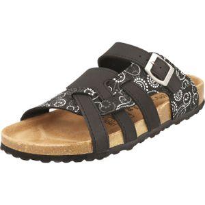 Supersoft 274-147 Damen Pantolette Sandale schwarz multi Schnalle Lederfußbett