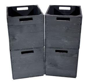 4x Solide schwarze Holzbox mit zwei Eingriffen & Filzstoppern, perfekt zum Spielzeug Verstauen o. für Kleidung, neu, 37,5x32x32,5cm