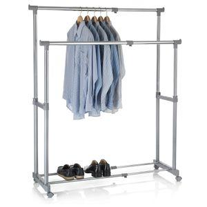 Garderobenwagen CASA in grau, 2 Kleiderstangen