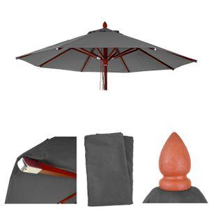 Bezug für Gastronomie Holz-Sonnenschirm MCW-C57, Sonnenschirmbezug Ersatzbezug, rund Ø3m Polyester 3kg  anthrazit