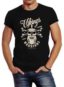 Herren T-Shirt Vikings Skull Wikinger Totenkopf Bart Slim Fit Neverless® schwarz 4XL