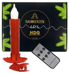 LED Weihnachtsbaumkerzen kabellos mit Fernbedienung - 8er Set LED Kerzen mit Clip rot, Set:mit Baumkerzen in rot