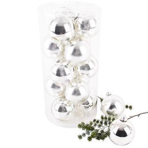 Weihnachtskugel Premium 15er Set Glas 8cm silber