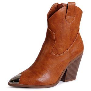 topschuhe24 1834 Damen Stiefeletten Cowboy Western Stiefel, Farbe:Braun, Größe:40 EU