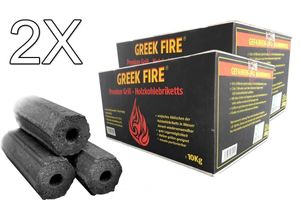 GREEK FIRE Premium Grill Holzkohlebriketts 2 X 10 kg - BBQ Briketts