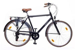 Amigo Style - Cityräder für Herren 28 Zoll - Herrenfahrrad mit Handbremsen, Beleuchtung und 6 Shimano Gänge - Schwarz