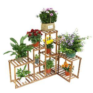 WISFOR Blumentreppe Holz,Blumenständer Ecke Holzregal,Pflanzenregal Kombination Blumenregal für Garten Balkon Wohnzimmer