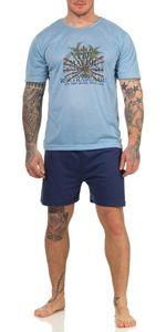 Herren Pyjama Short & T-Shirt Schlafanzug, Hellblau XL