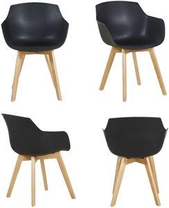 H.J WeDoo 4er Set Sessel Skandinavisch Wohnzimmerstuhl Modern Esszimmerstühle mit solide Buchenholz Bein, schwarz
