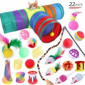 22 Pcs Cute Katzenspielzeug Haustier Set Katzentunnel Faltbar Bällen Mäusen Feder