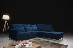 Polsterecke HILTON Couch L-förmig mit Bettkasten Blau universelle Ottomane Puma