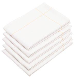 5er Set Geschirrtücher/Serviertuch, Baumwolle/Leinen, weiß-gelb, 45x65 cm