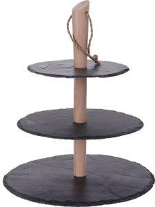Etagere Holzständer mit 3 Schieferplatten 30 / 25 / 20 cm