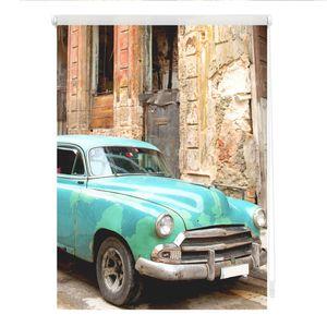 Rollo Klemmfix, ohne Bohren, blickdicht, Kuba - Türkis Braun 90 x 150 cm (B x L)