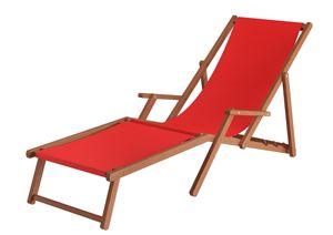Liegestuhl XXL Sonnenliege Gartenliege Holz Deckchair Strandstuhl Massivholz Gartenmöbel V-10-500, Stofffarbe:rot