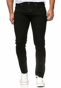 Reslad Jeans-Herren Slim Fit Basic Style Stretch-Denim Jeans-Hose RS-2063 Tiefschwarz W33 / L32