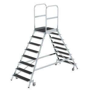 Günzburger Steigtechnik Podesttreppe beids. begehbar mit Federrolle Korundbeschichtung R 13 8 Stufen