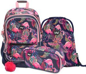 Schulrucksack Set Mädchen 3 Teilig, Schultasche ab 3. Klasse, Grundschule Ranzen mit Brustgurt, Ergonomischer Schulranzen (Flamingo)