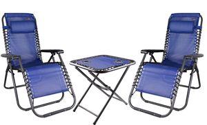 Relax Set aus 2x Sessel mit Kopfkissen und 1x Tisch, Farbe: Schwarz/Blau