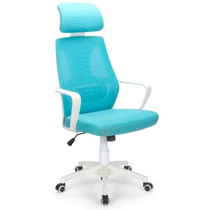 Futurefurniture® rotierender ergonomischer Bürostuhl mit hoher Rückenlehne aus Mesh mit Feste Armlehne und verstellbarem Bürostuhl mit Kopfstütze (Blau)