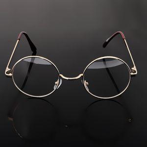 Vintage Frauen Männer Metall Brillen Plain Klare Linse Spiegel Retro Runde Gold