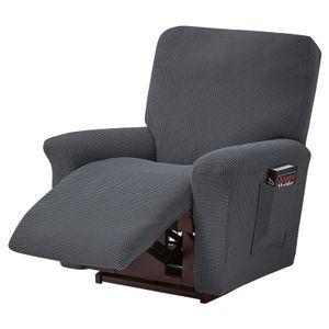 Liegestuhlbezug Stretch-Relaxsesselbezug, klein karierter Jacquard, ausgestattet mit Standard-/Übergrößen-Relaxsessel, Dunkelgrau