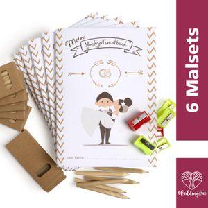 WeddingTree Hochzeitsmalbuch für Kinder mit Stiften – Als Gastgeschenke Hochzeit Kinder
