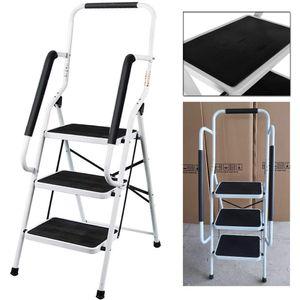 Trittleiter 3 Stufen mit handlauf und Rutschfester Stufen, Stahl Stehleiter Haushaltsleiter Klapptritt Leiter, Ideal für Zuhause/Küche/Garage, belastbar bis 150 kg