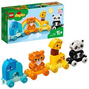 LEGO 10955 DUPLO Mein erster Tierzug mit Elefanten, Tiger, Panda und Giraffe für 1,5-jährige Kleinkinder, Konstruktionsspielzeug
