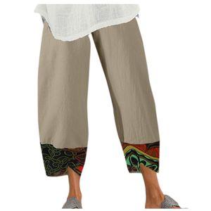 Damen Lady Casual Flowers bedrucken Hosen mit elastischer Taille und weitem Bein Größe:XL,Farbe:Ocker