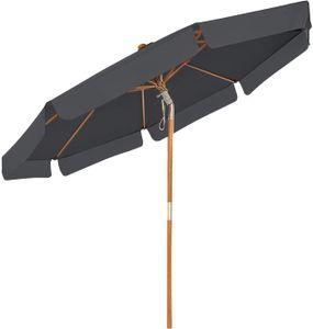 SONGMICS Sonnenschirm 300 cm, Sonnenschutz bis UPF 50+, knickbar, achteckiger, Schirmmast und Schirmrippen aus Holz, ohne Ständer, Grau GPU32GY