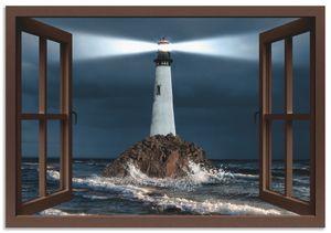 ARTland Alubilder Fensterblick Leuchtturm mit Lichtstrahl Alubild Größe: 70x50 cm