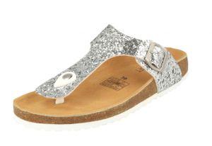 Supersoft 274-511 Damen Pantoffeln Zehentrenner Hausschuhe Leder Glitzer Silver