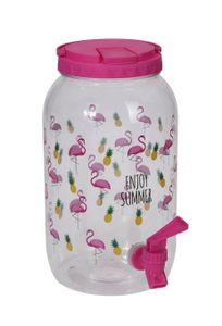 Saftspender Getränkespender mit Zapfhahn 3,75 Liter Kunststoff Wasserspender(Flamingos, pink)