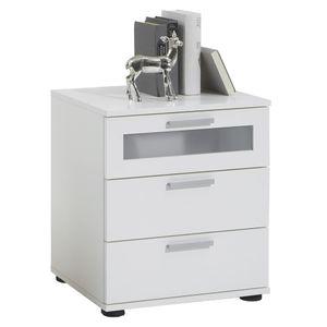 【Neu】Nachttische FMD Nachtkommode mit 3 Schubladen Weiß Gesamtgröße:45 x 38 x 53 cm BEST SELLER-Möbel-Tische-Nachttische im Landhaus-Stil