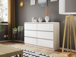 Mirjan24 Kommode Malwa M6 120, Stilvoll Sideboard mit 6 Schubladen, Schlafzimmer Highboard, Modern Kollektion (Weiß)