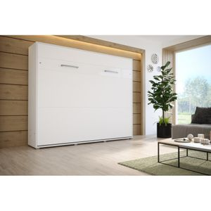 FALAY Schrankbett mit Matratze Wandklappbett Schrankklappbett Horizontal LED Weiß/Weiß 160 x 200 cm