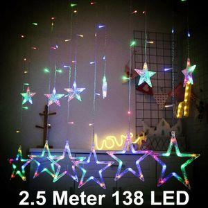 Melario Sterne Led Lichterkette Lichtervorhang Lichtnetz Fenster Garten Außen RGB Bunt Sternenvorhang Weihnachtsdeko 2.5 Meter 138LED
