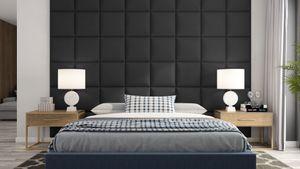Wandpaneel Set 4x Kunstleder Gesteppt 5x5cm Wandverkleidung Polsterwand 40x40 - Schwarz