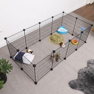 SONGMICS Kleintierkäfig mit Laufgitter aus Metall 143 x 73 x 46 cm für den Innenbereich für Kleintiere individuell zusammenbaubar schwarz LPI01H