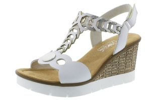 Rieker 655H4-80 Damen Sandalen Keilabsatz Sandaletten T-Steg, Größe:38 EU, Farbe:Weiß