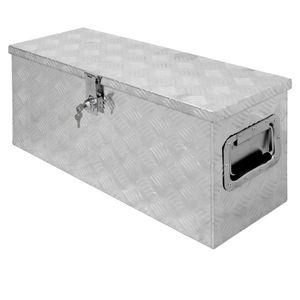 ECD Germany Alu Werkzeugkasten 73 x 24 x 32 cm - abschlie?bar - Werkzeugkoffer Werkzeugkiste Werkzeugbox Alukiste Kiste Alubox Transportbox Transportkiste Deichselbox Truckbox Box