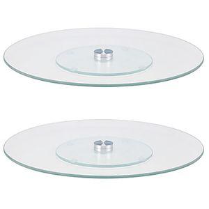 2 Stück Drehbare Kuchen-Servier-Platte Ø 30 cm Glas