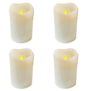 4 Stück LED Wachs Kerzen Set weiß 9cm x 7,5cm