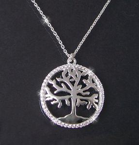 Kette 925 Silber Ankerkette 41-44cm Lebensbaum Zirkonia 1591245