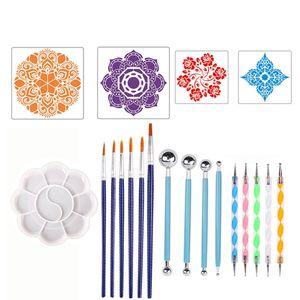 20 Stueck Dot Painting Tools Kit Mandala Punktierwerkzeuge Mandala Stencil Kit Multifunktions DIY Malerei
