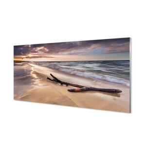Glasbilder 120x60 Wandkunst Danzig Strand Meer Sonnenuntergang